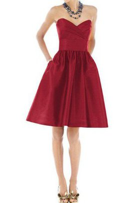 Satin Knee Length Sweetheart Ruched A-Line Bridesmaid Dress