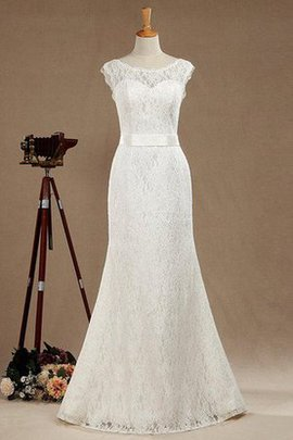 Lace Sashes Short Sleeves Mermaid Natural Waist Wedding Dress