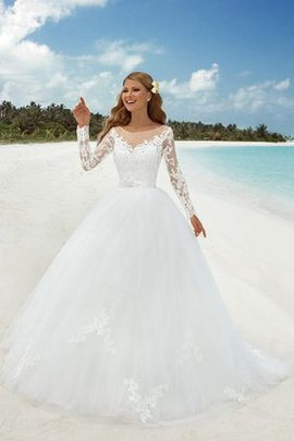 Long Sleeves Sashes Beach Floor Length Elegant & Luxurious Wedding Dress