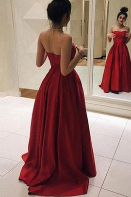 Natural Waist Zipper Up Princess Ruffles Strapless Delicate Sweep Train Prom Dress