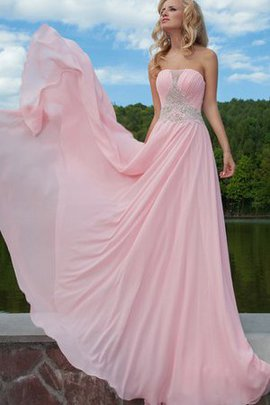 Sweep Train A-Line Strapless Chiffon Long Prom Dress