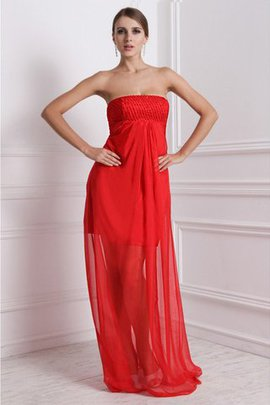 A-Line Long Zipper Up Strapless Beading Bridesmaid Dress