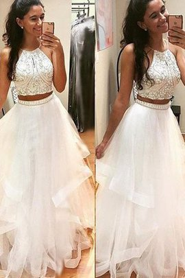 Floor Length Beading Tulle Halter Sleeveless Prom Dress