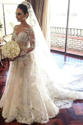 Lace Natural Waist Tulle Princess Bateau Wedding Dress