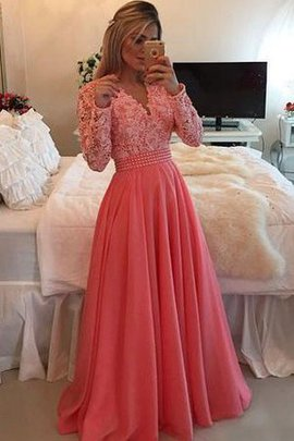 Long Sleeves Appliques Chiffon Floor Length Lace Fabric Prom Dress