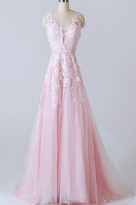 Deep V-Neck Sleeveless Elegant & Luxurious Lace Fabric A-Line Prom Dress