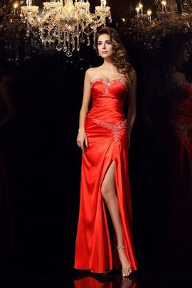 Elastic Woven Satin Sheath Sleeveless Beading Sweetheart Evening Dress