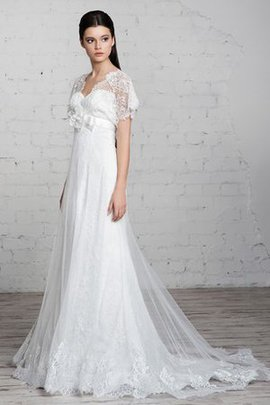Floor Length Short Sleeves Flowers Sheath Sweep Train Wedding Dress