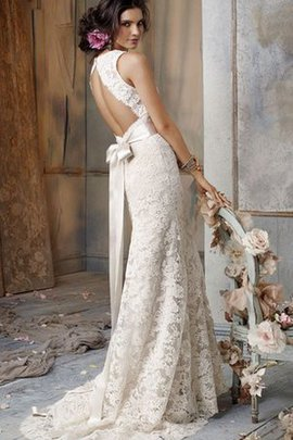 Simple Lace Fabric Sashes Romantic Sheath Wedding Dress