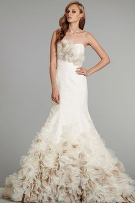 Cascading Ruffle Organza Lace-up Mermaid Strapless Wedding Dress