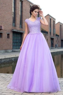Zipper Up Short Sleeves Empire Waist Appliques V-Neck Prom Dress