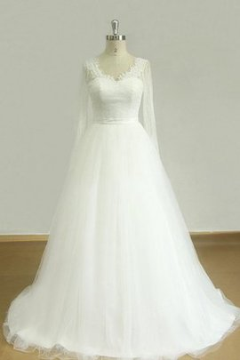 Lace Beading Tulle Scalloped-Edge A-Line Wedding Dress