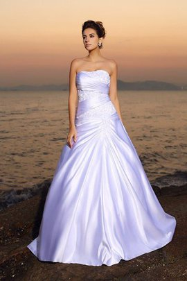 Empire Waist Beach Beading Lace-up Strapless Wedding Dress