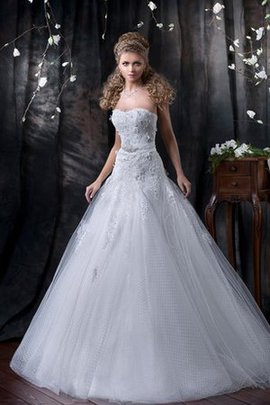 Bow Sweep Train Floor Length Sleeveless Lace-up Wedding Dress