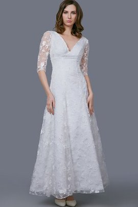 Ankle Length V-Neck A-Line Vintage Elegant & Luxurious Wedding Dress