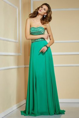 Sweep Train Chiffon Sleeveless Empire Waist Strapless Evening Dress