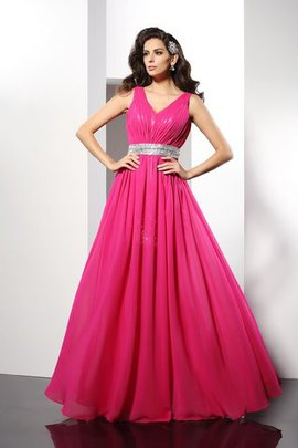 Natural Waist Zipper Up V-Neck Princess Floor Length Evening Dress