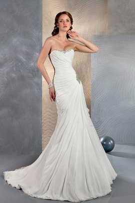 Beading Sweetheart Sheath Beach Sweep Train Wedding Dress