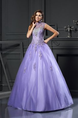 Appliques High Neck Empire Waist Sleeveless Ball Gown Quinceanera Dress