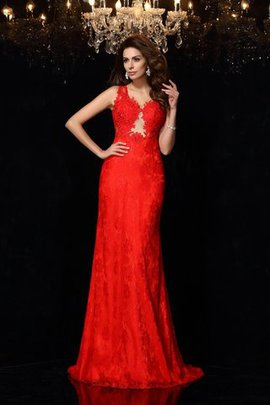 Sheath Lace V-Neck Satin Sleeveless Evening Dress