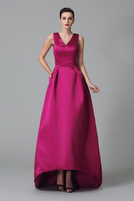 Zipper Up High Low Satin Ruched Wide Straps Bridesmaid Dress