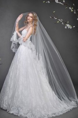 Long Natural Waist A-Line Lace-up Lace Fabric Wedding Dress