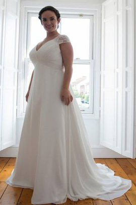 Floor Length Chic & Modern Chiffon Plus Size Capped Sleeves Wedding Dress