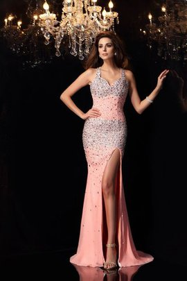 Spaghetti Straps Beading Natural Waist Mermaid Long Evening Dress