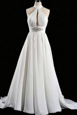 A-Line Floor Length Sleeveless Chiffon Backless Wedding Dress