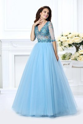 Ball Gown Floor Length Natural Waist V-Neck Satin Quinceanera Dress