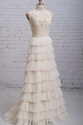 Long Floor Length High Neck Natural Waist Chic & Modern Wedding Dress