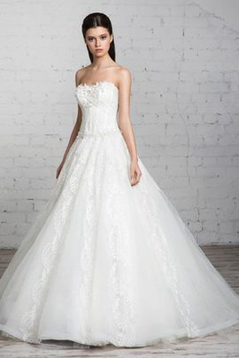 A-Line Tulle Long Sleeveless Sweep Train Wedding Dress