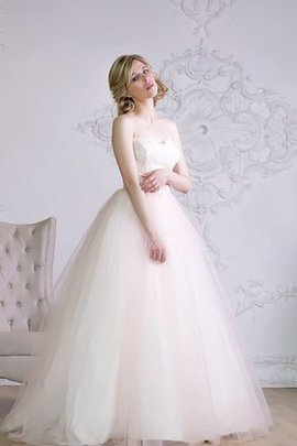 A-Line Sleeveless Lace-up Floor Length Wedding Dress
