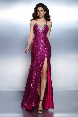 Long Chiffon Beading Natural Waist Sequined Evening Dress