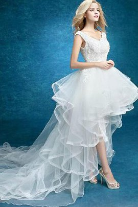 Lace Split Front Beach Informal & Casual Sleeveless Wedding Dress