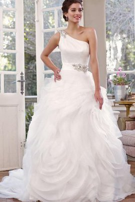 One Shoulder Ruffles Lace-up Chapel Train Organza Wedding Dress