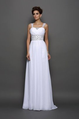 Empire Waist Sleeveless Long Court Train Chiffon Wedding Dress
