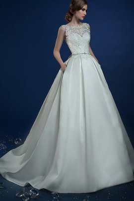 Appliques Sleeveless A-Line Jewel Keyhole Back Wedding Dress