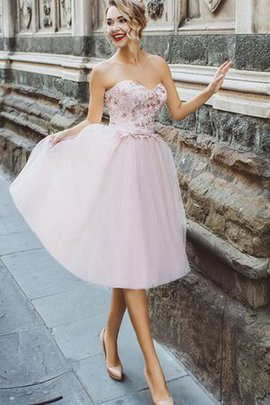 Pleated Elegant & Luxurious Tulle Bow Sweetheart Homecoming Dress