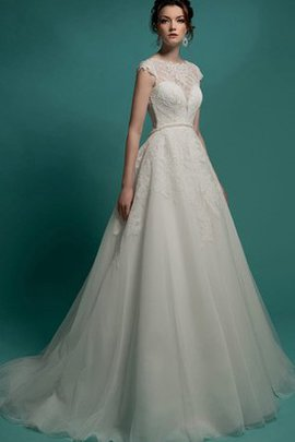 Sweep Train Zipper Up Tulle Short Sleeves Scalloped-Edge Wedding Dress