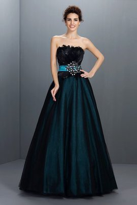 Backless Elastic Woven Satin Floor Length Sleeveless Feathers Quinceanera Dress