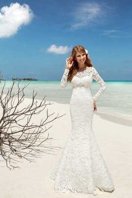 Modest Mermaid Beach Floor Length Romantic Wedding Dress