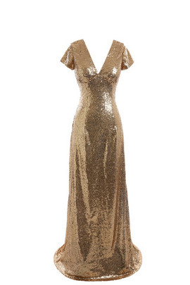 Vintage Sequins A-Line Short Sleeves Modest Evening Dress