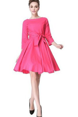 Knee Length Natural Waist 3/4 Length Sleeves A-Line Bridesmaid Dress