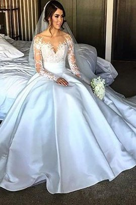 Ball Gown Natural Waist Satin Long Sleeves Off The Shoulder Wedding Dress