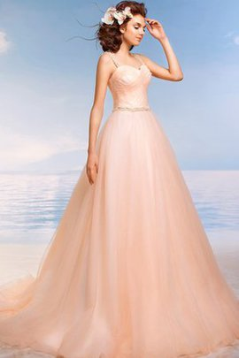 Beading Keyhole Back Natural Waist Spaghetti Straps Tulle Wedding Dress