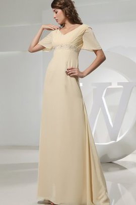 Beading Chiffon Ruched Strapless Floor Length Evening Dress