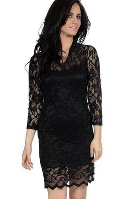 3/4 Length Sleeves Short Notched Lace Fabric Sheath Cocktail Dress