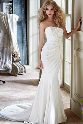 Flowers Sheath Natural Waist Backless Court Train Wedding Dress