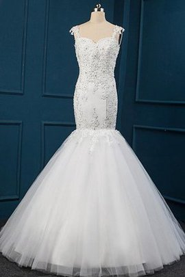Sleeveless Tulle Sweetheart Lace Fabric Beading Wedding Dress